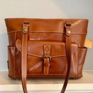 Patricia Nash Bolsena Veg Tan Leather Zip Top Tote